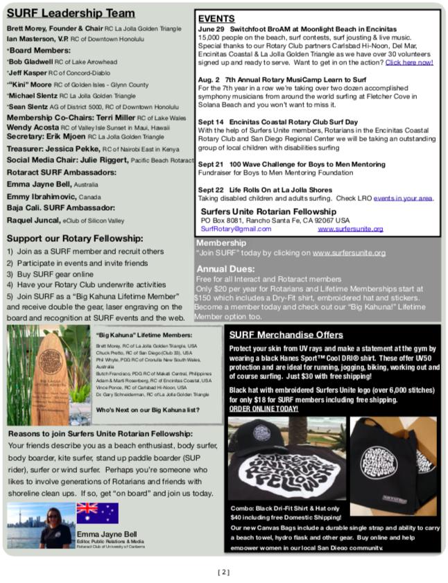 Surfers Unite Rotarian Fellowship - News